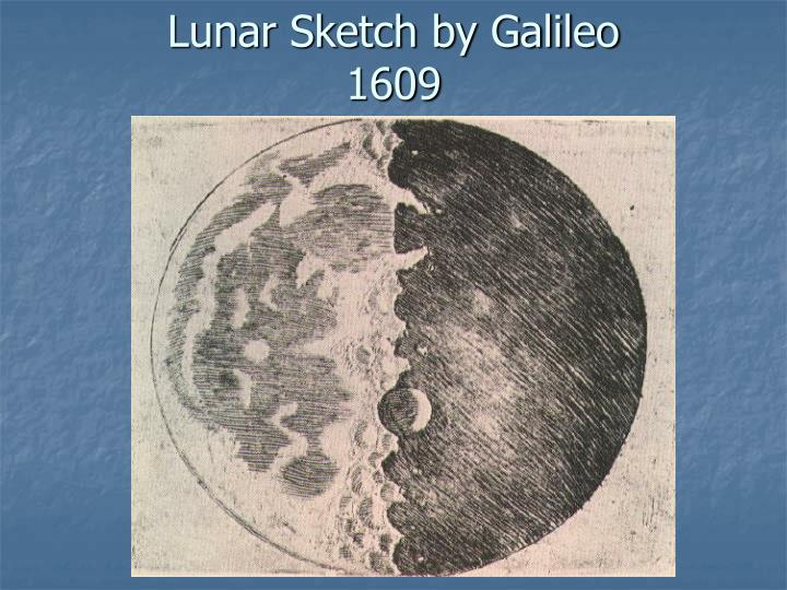Lunar sketch by galileo 1609