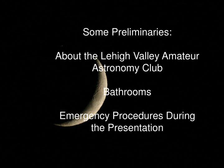 Some Preliminaries: