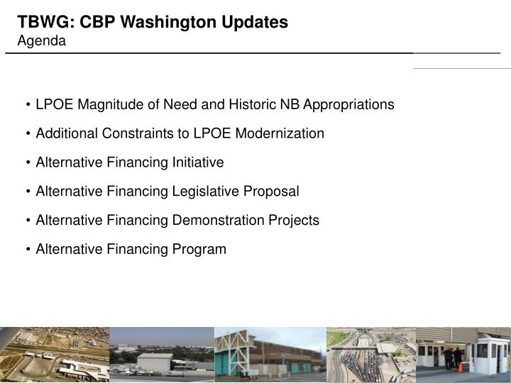 TBWG: CBP Washington Updates