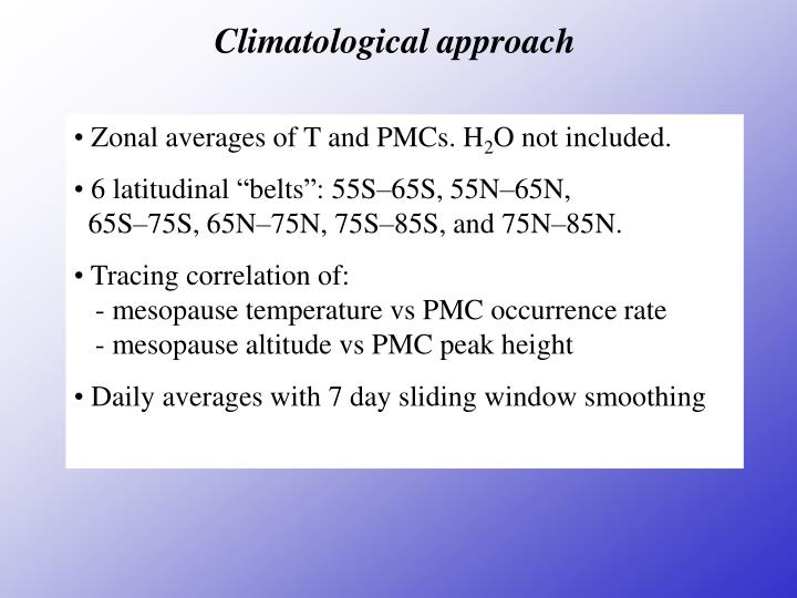 Climatological approach