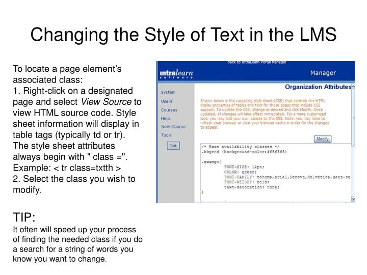 Changing the Style of Text in the LMS