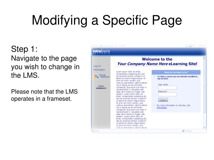 Modifying a Specific Page