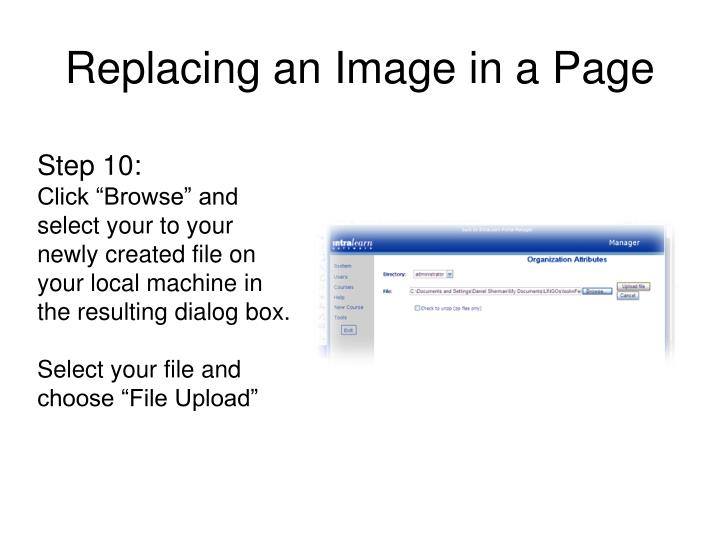 Replacing an Image in a Page