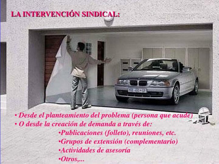 LA INTERVENCIÓN SINDICAL: