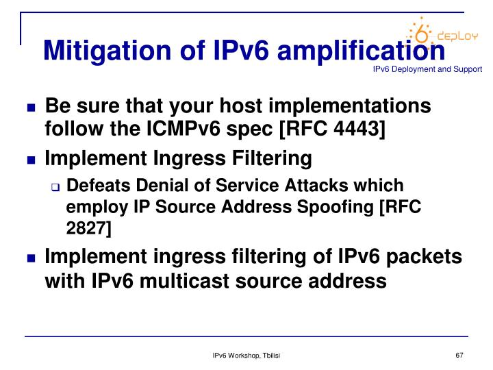 Mitigation of IPv6 amplification