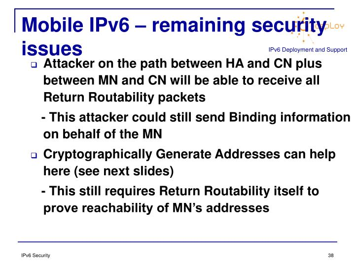 Mobile IPv6 – remaining security issues