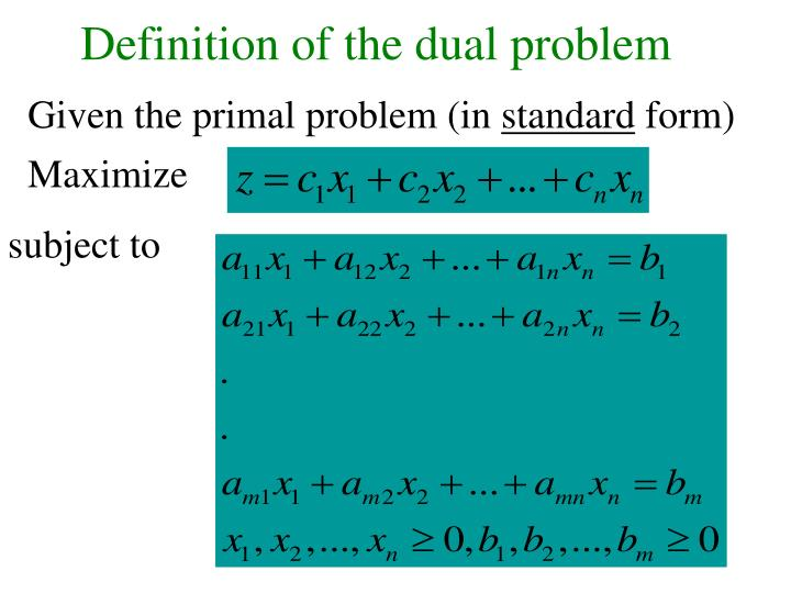 Definition of the dual problem