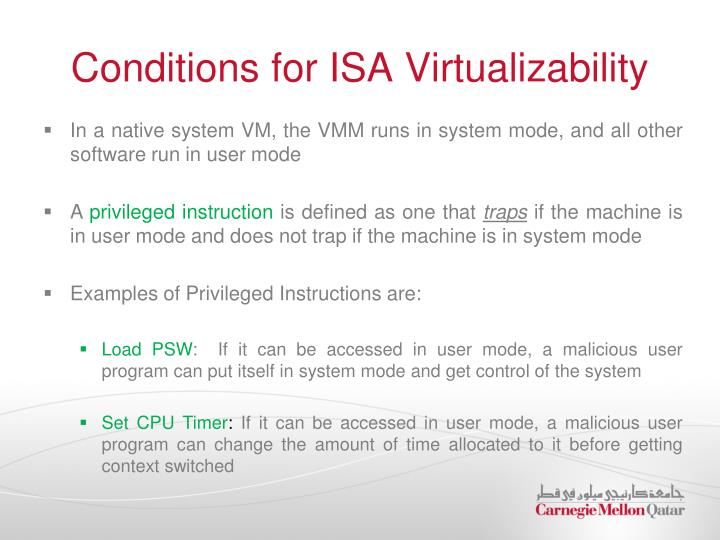 Conditions for ISA Virtualizability