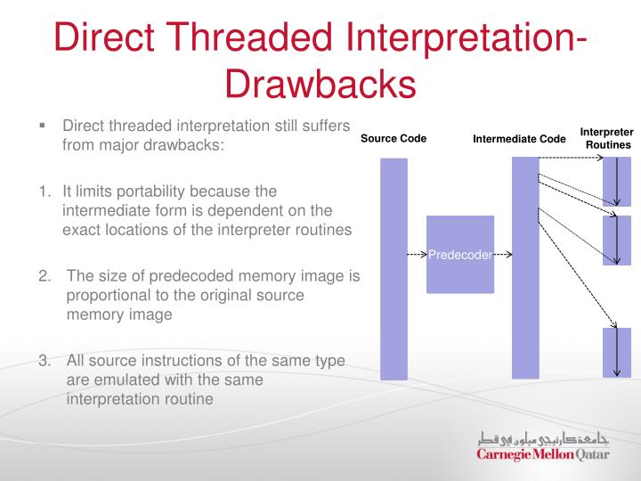Direct Threaded Interpretation- Drawbacks