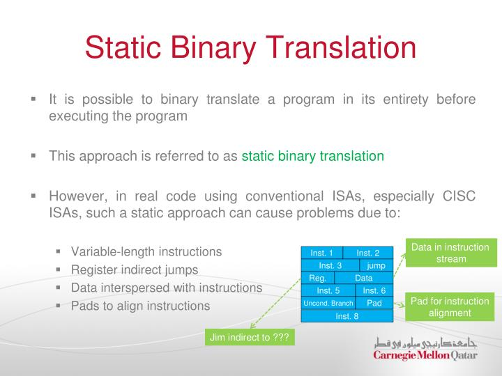 Static Binary Translation