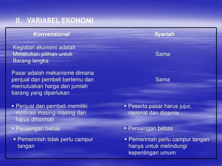 II.  VARIABEL EKONOMI