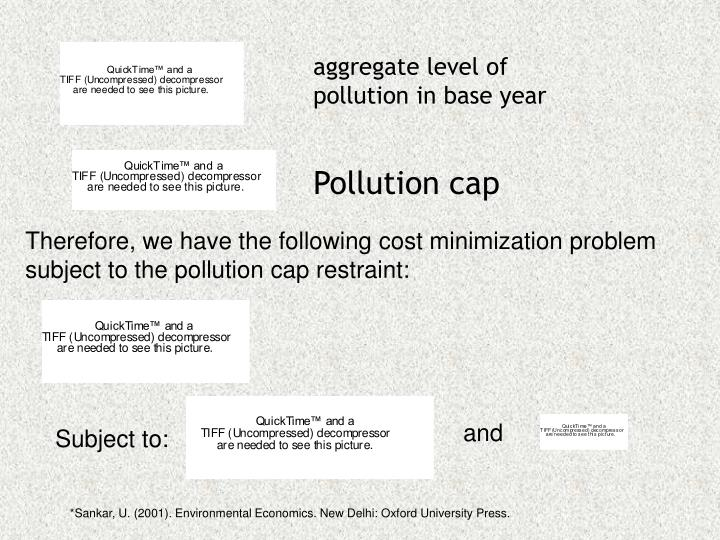 Therefore, we have the following cost minimization problem subject to the pollution cap restraint: