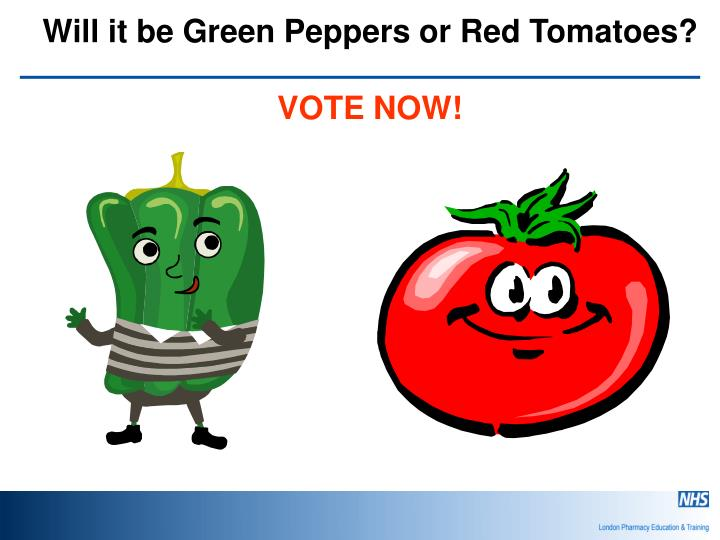 Will it be Green Peppers or Red Tomatoes?