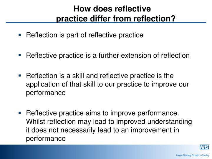 reflective practice pharmacy Reflective practice is an important tool in practice-based  nursing, pharmacy  and allied health professionals find reflective journals a useful.