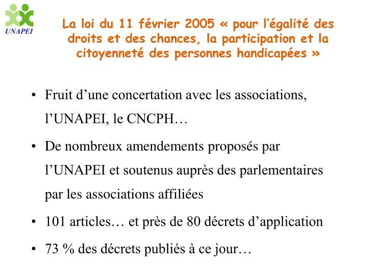 La loi du 11 février 2005 «pour l'égalité des droits et des chances, la participation et la citoyenneté des personnes handicapées»