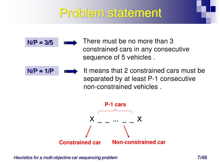 There must be no more than 3 constrained cars in any consecutive sequence of 5 vehicles