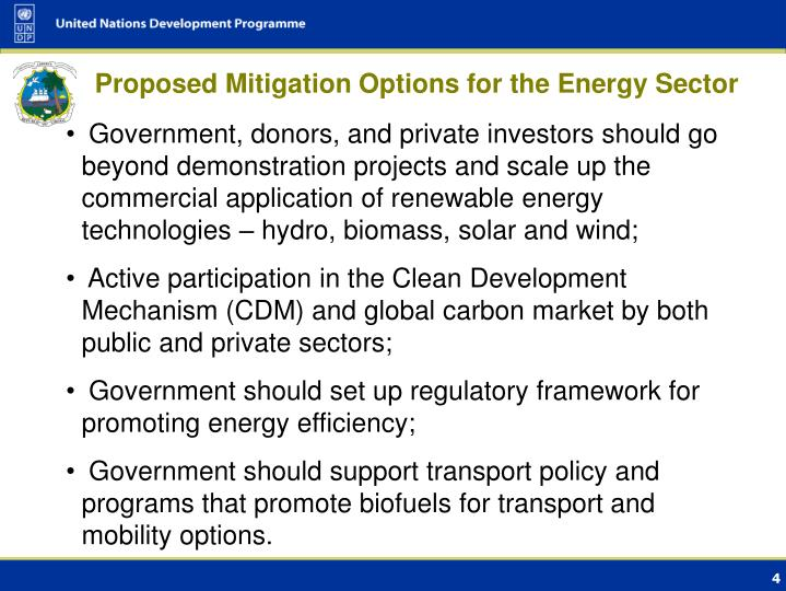 Proposed Mitigation Options for the Energy Sector