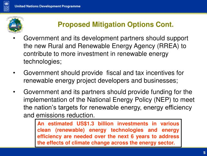 Proposed Mitigation Options Cont.