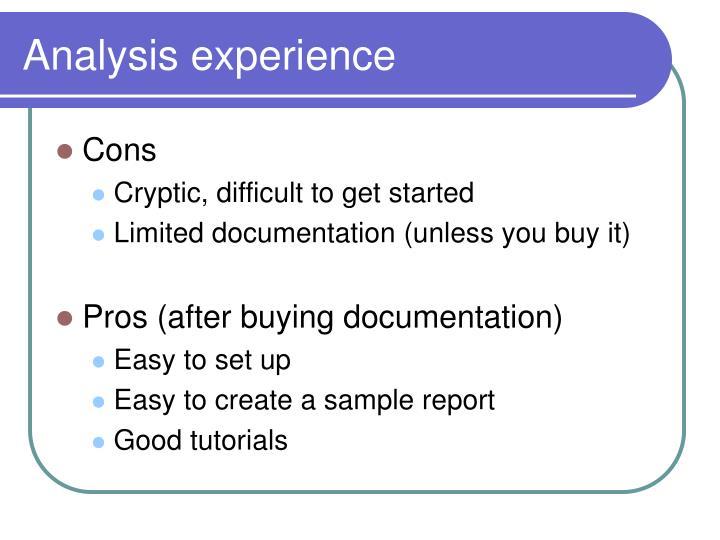 Analysis experience