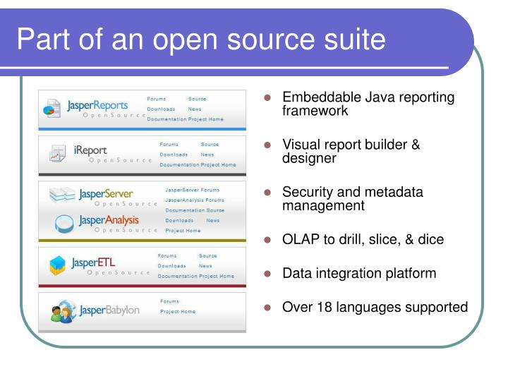 Part of an open source suite