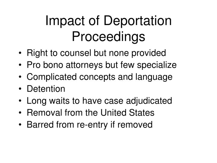 Impact of Deportation Proceedings