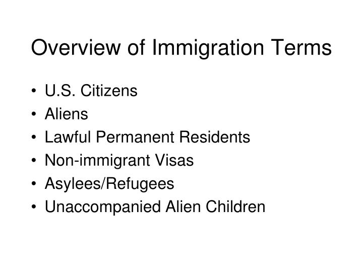 Overview of Immigration Terms