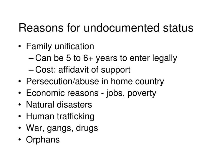 Reasons for undocumented status