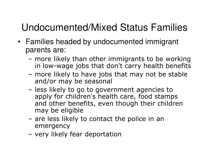 Undocumented/Mixed Status Families