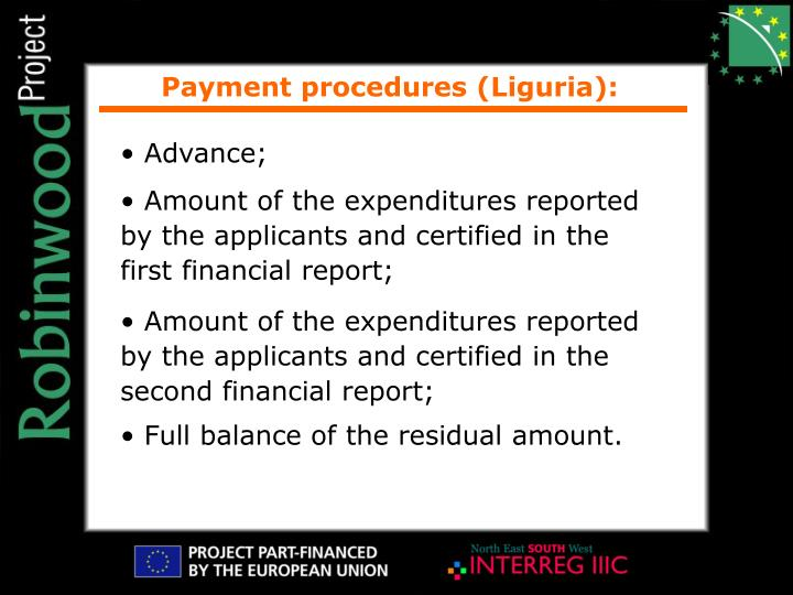 Payment procedures (Liguria):