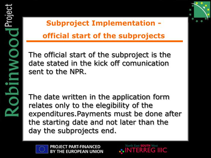 Subproject Implementation -