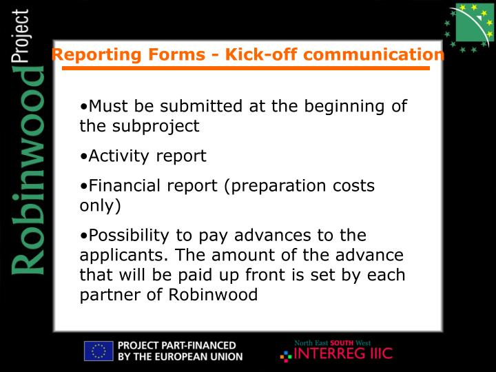 Reporting Forms - Kick-off communication