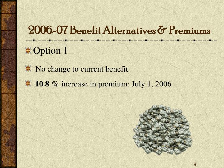 2006-07 Benefit Alternatives & Premiums