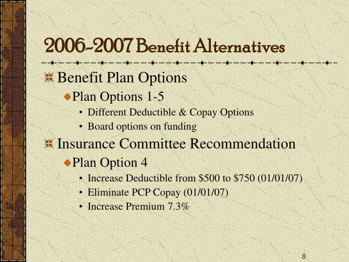 2006-2007 Benefit Alternatives