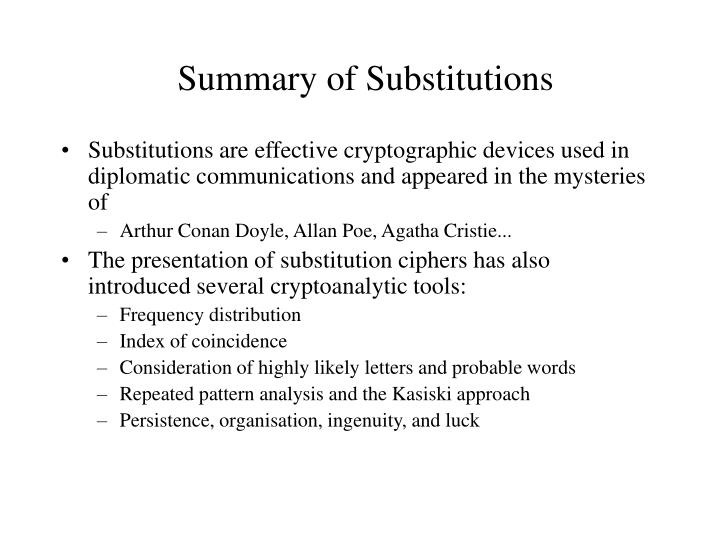 Summary of Substitutions
