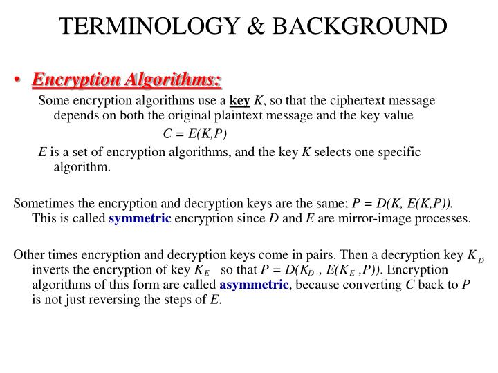 TERMINOLOGY & BACKGROUND