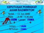 keputusan peringkat akhir badminton