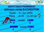 keputusan peringkat separuh akhir badminton