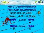keputusan pusingan pertama badminton4