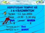keputusan tempat ke 3 4 badminton