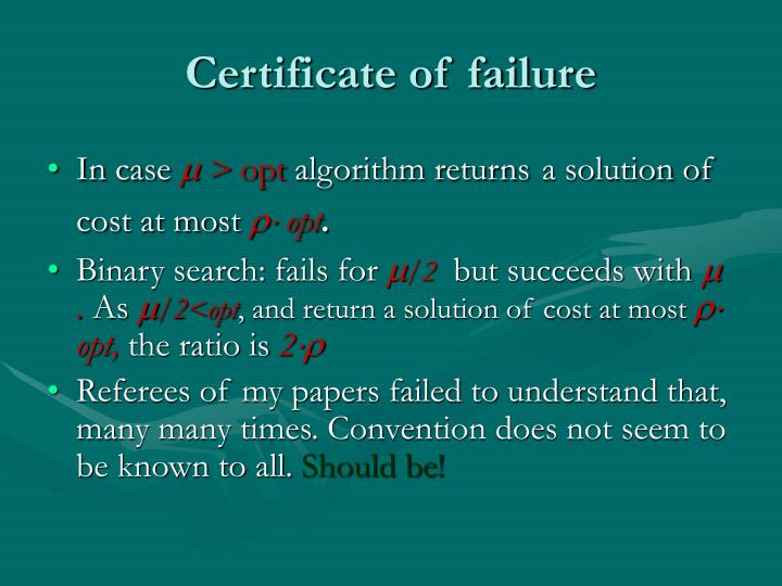 Certificate of failure
