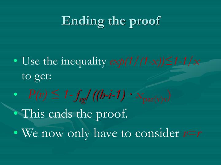 Ending the proof
