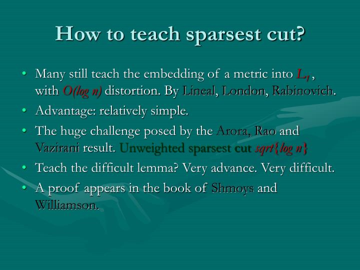 How to teach sparsest cut?