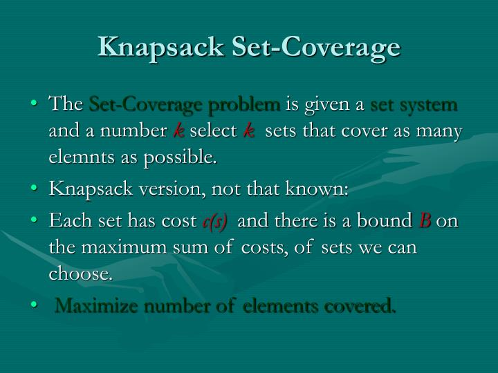 Knapsack Set-Coverage