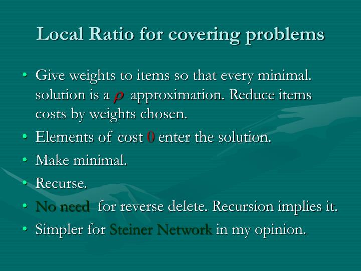 Local Ratio for covering problems