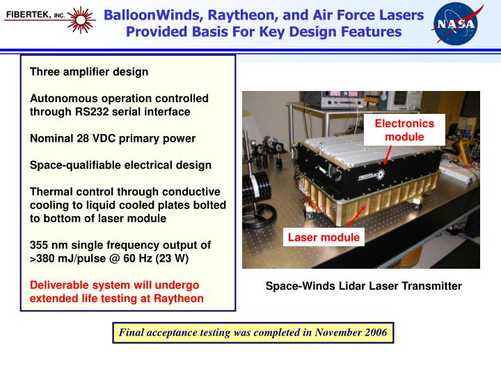 BalloonWinds, Raytheon, and Air Force Lasers Provided Basis For Key Design Features