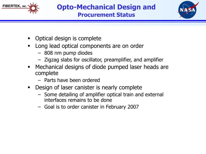 Opto-Mechanical Design and