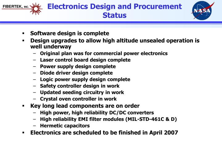 Electronics Design and Procurement Status
