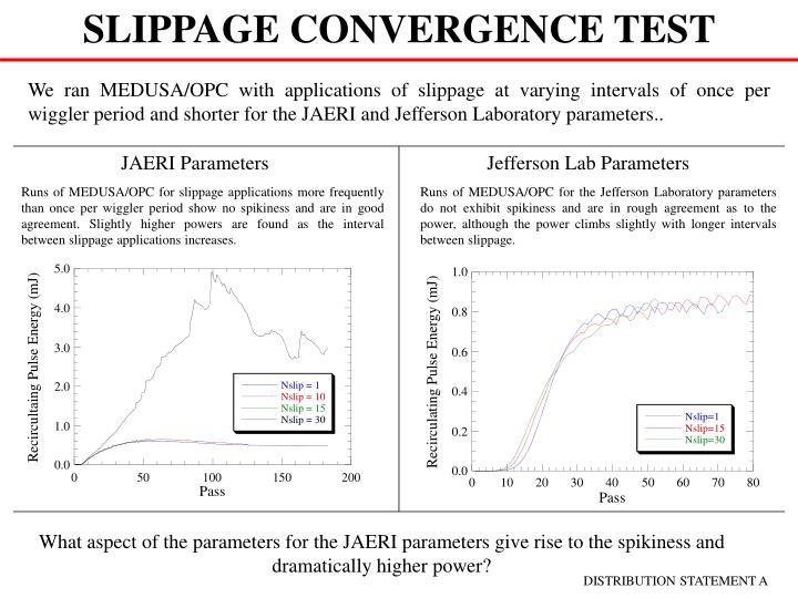 SLIPPAGE CONVERGENCE TEST