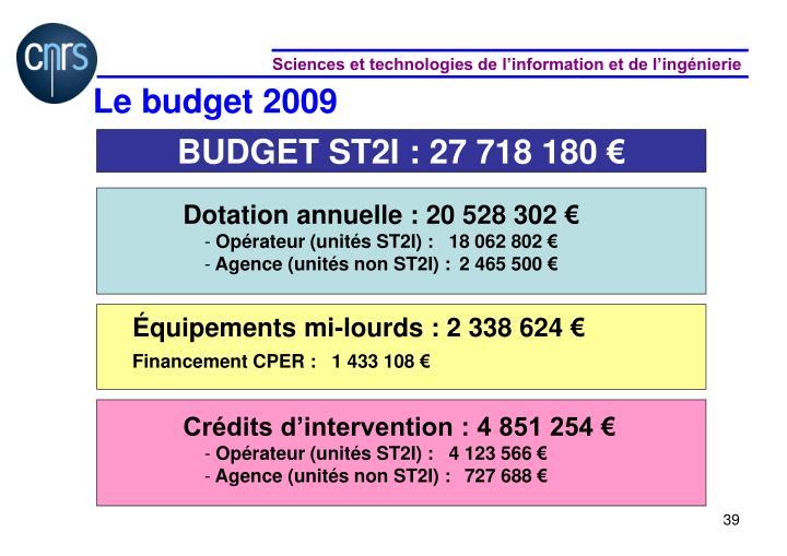 Le budget 2009
