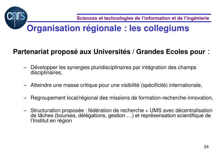 Organisation régionale : les collegiums